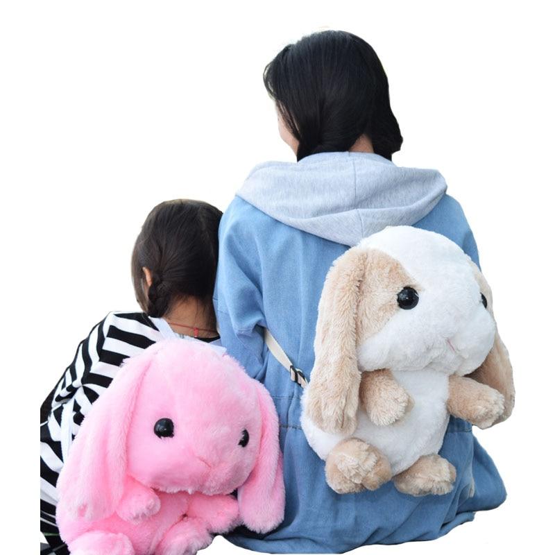 Cute Hanging Ear Rabbit Bunny Backpacks Kids Gift for Children Plush Cartoon Kindergarten School Bags Mochila Escolar Infantil