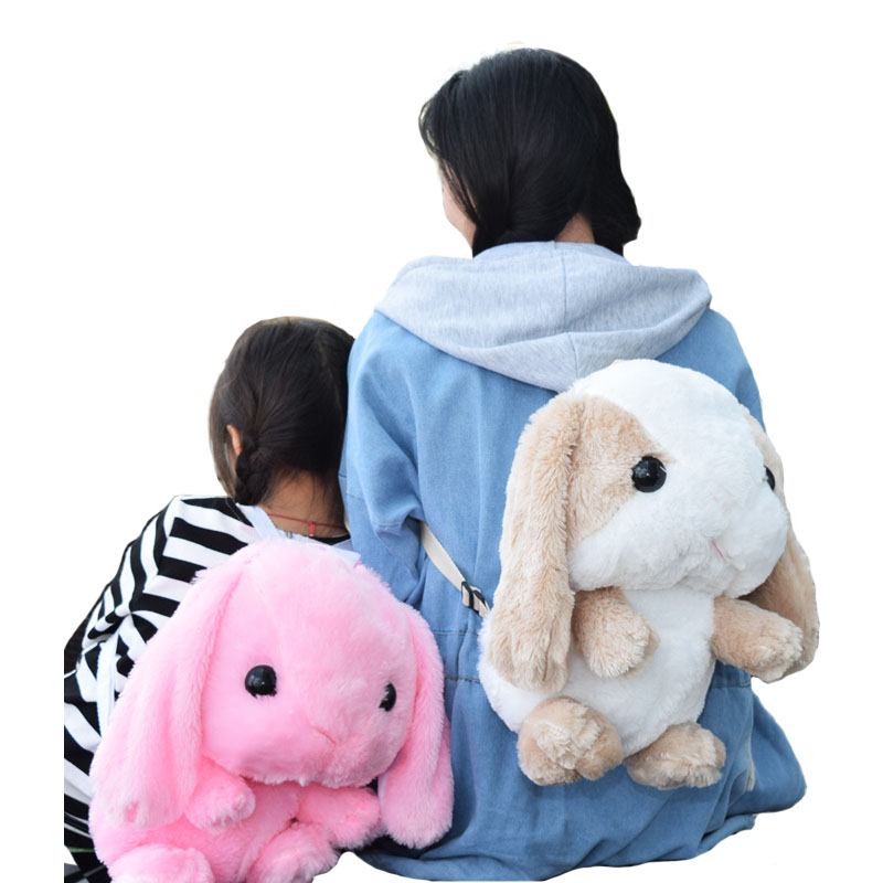 Cute Hanging Ear Rabbit <font><b>Bunny</b></font> Backpacks Kids Gift for Children Plush Cartoon Kindergarten School <font><b>Bags</b></font> Mochila Escolar Infantil