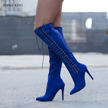 Sexy Women Stretch Suede Thigh High Boots Spring Autumn Fashion Cross-tied Stilettos Over the Knee Boots High Heels Shoes Woman