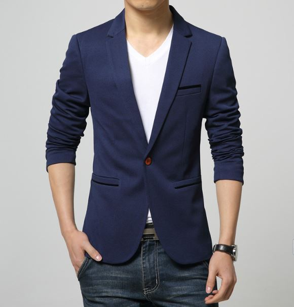 2018 Fashion Party Mens slim fit cotton blazer Suit Jacket black blue beige plus size L-6XL Male blazers Mens coat Wedding dress