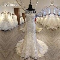 Unique Lace Sheath Wedding Dress High Quality Sleeveless Keyhole Back Bridal Gown 2018 New