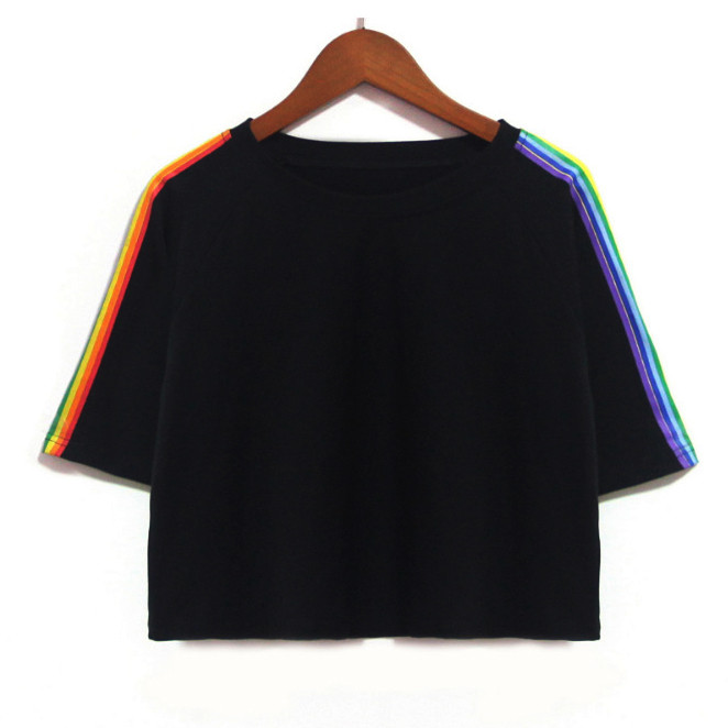 Vest Tops T-Shirt Oversize Sexy-Sleeve Rainbow-Printed Neon Summer Short O-Neck Women Tank