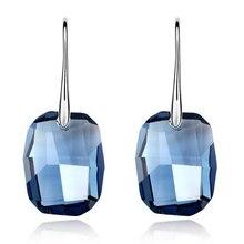 Joyas de Oro Blanco Plateó el Cristal Azul de alta Calidad de Swarovski Elements Long Water Gota Cuelga Los Pendientes Para Las Mujeres