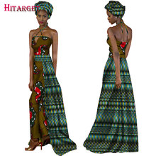 2017 African Jumpsuit for Women Fashion Patchwork Hanging Neck Vestidos with Headtie Bazin Riche Clothes WY1280