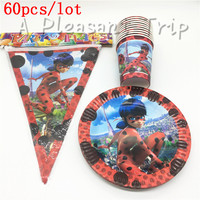 60pcs Miraculous Ladybug Theme 20 Plates 20cups 20 Flag Happy Birthday Party Supplies 20person Party Decoration