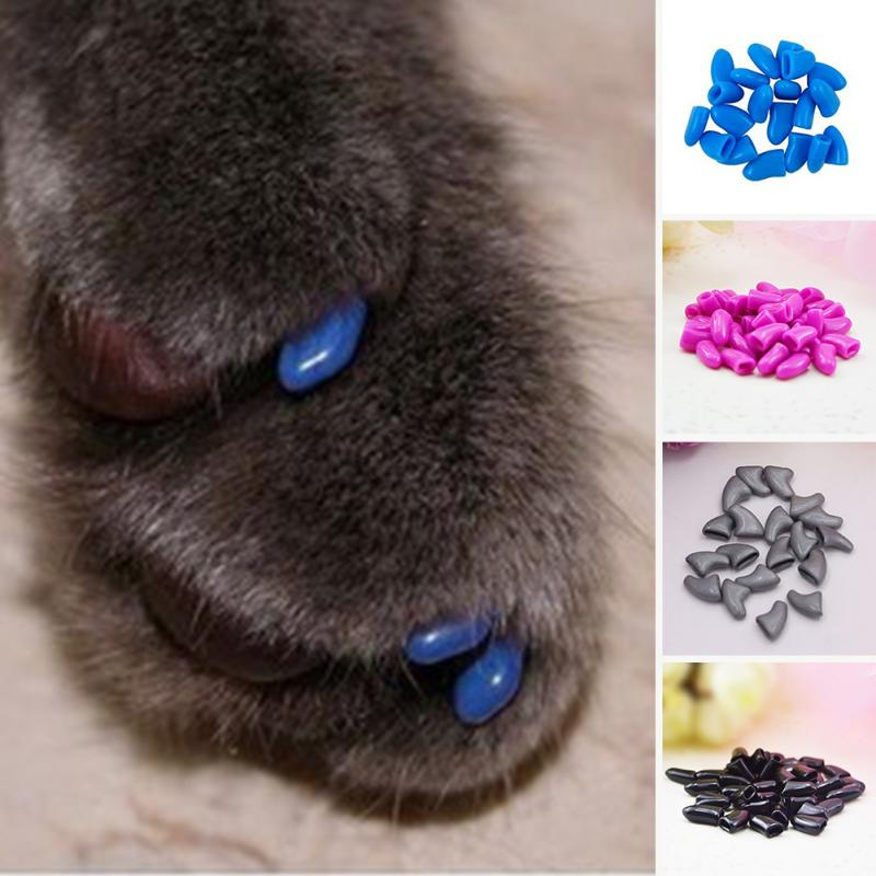 NEW 2018 Fashion Nail Caps Cover 20Pcs Colorful Soft Pet Dog Cat ...