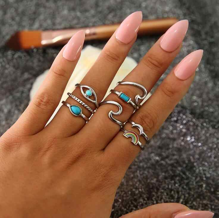 8 pçs/set Colorful Rainbow Pedra Midi Anéis Set Para As Mulheres 2018 Nova Cor Prata Retro Vintage Dedo Knuckle Ring Set jóias