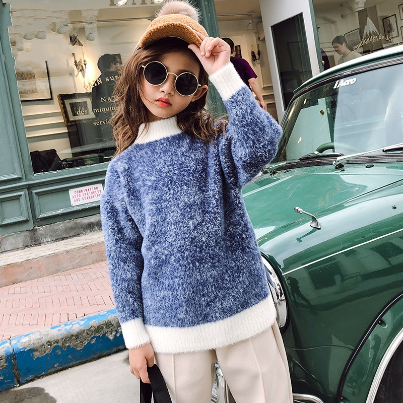 Hot Sale Yellow Blue Baby Girls Sweaters Knit Bottoming Sweater For
