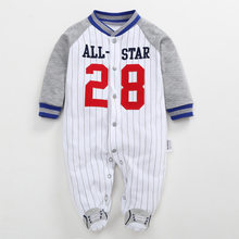 2018 Spring Autumn Baby romper Letter All starts printed Baby girls boys Long sleeve Baseball Uniform Jumpsuits baby clothing(China)