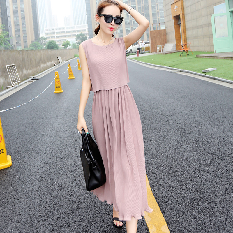 2016 A-line Boat Neck Silk Cotton Woolen Full -line Solid Nkle-length Casual New Summer Thin Dress Temperat In Fake Dresses Two