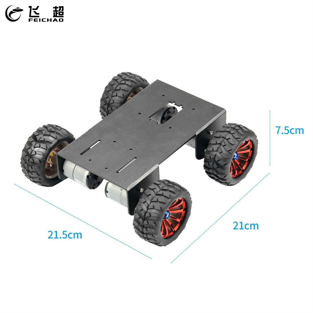 4WD Chassis with 72mm Diameter ABS Wheel 12V DC Metal Motor Accessory