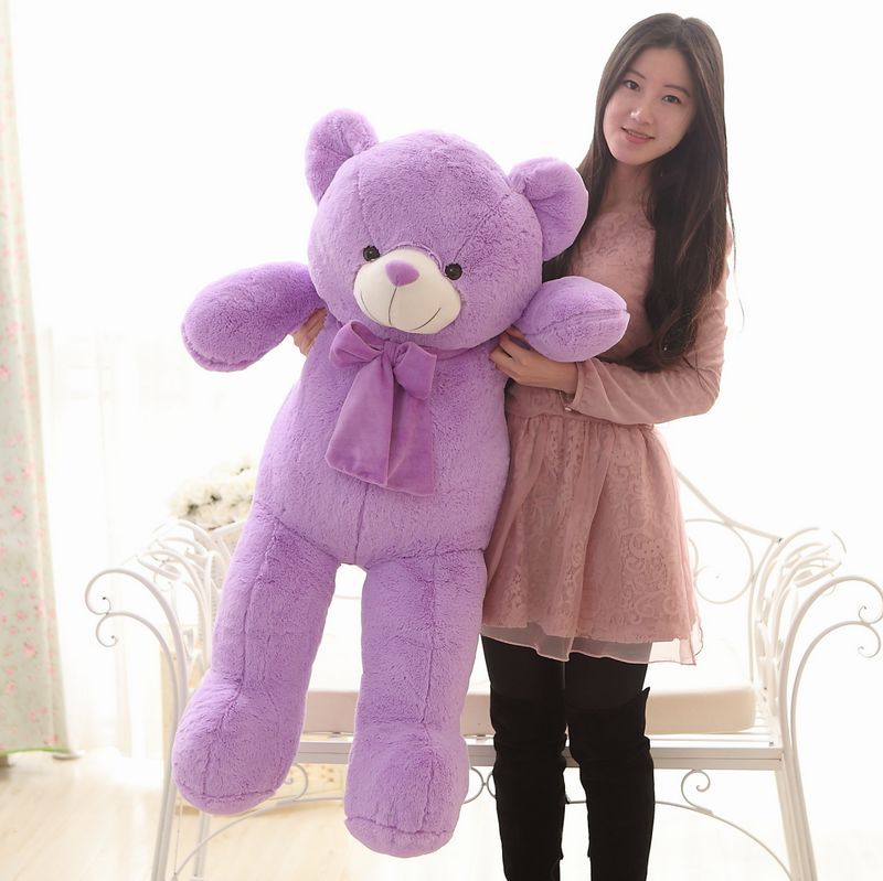 The lovely lavender teddy bear doll plush purple big teddy bear toy birthday gift about 120cm big lovely pink teddy bear doll candy colours teddy bear with spots bow plush toy doll birthday gift about 120cm