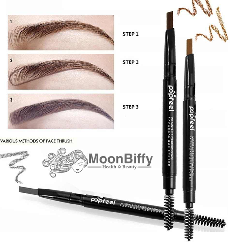 Moonbiffy Tahan Lama Brown Alis Tato Pigmen Makeup Alis Kosmetik Pena Double End Otomatis Pensil Alis Tahan Air
