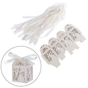 Image 2 - Cajas de Regalo para dulces de boda de corte láser de lujo, diseño de pareja, con cintas decorativas para mesa, color blanco, 100 Uds.
