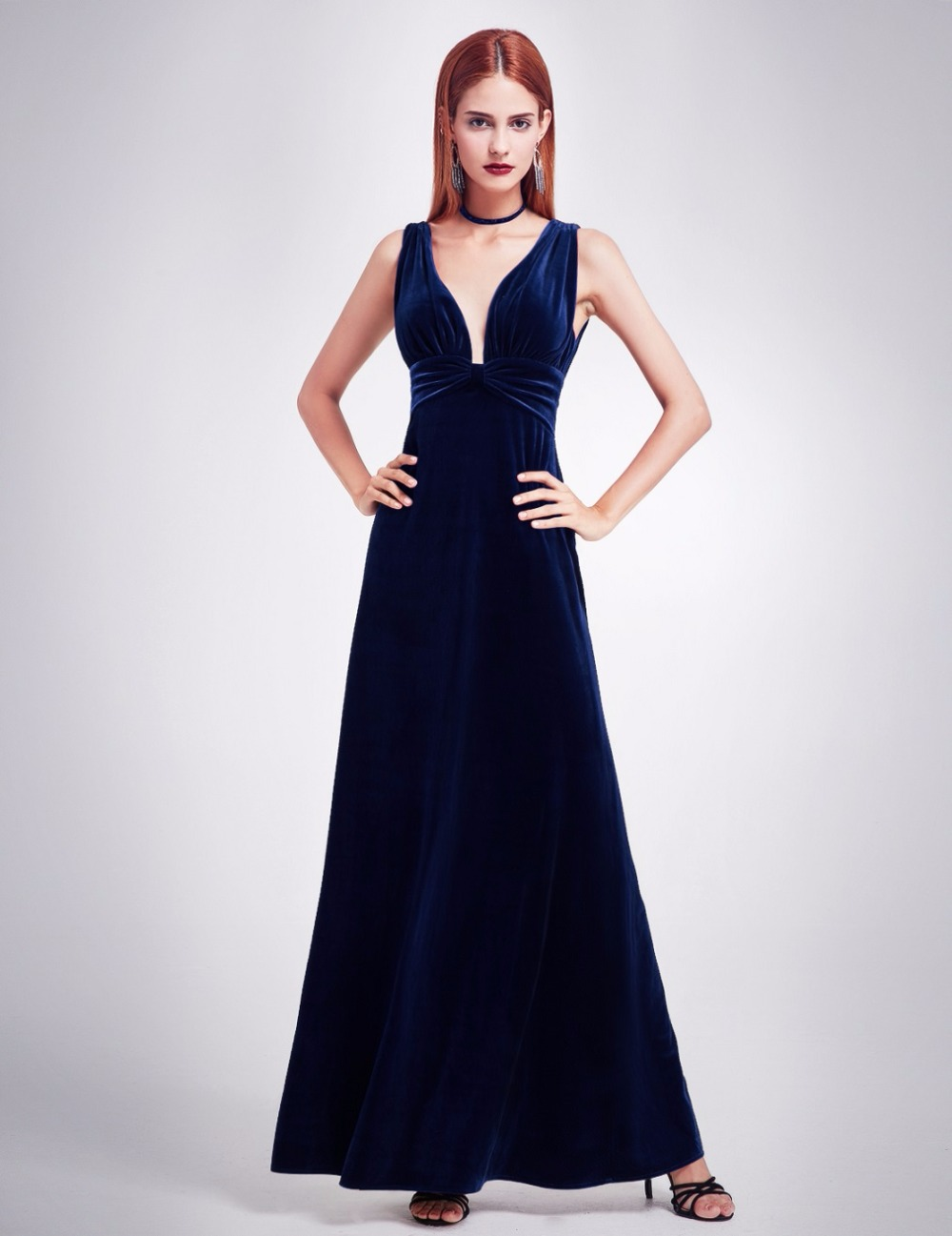 295ccc2b091d0 Elegant New Year Velvet Long Evening Dresses Ever Pretty EP07182 Sexy  Double V Neck Christmas Evening Dresses 2018 Formal Gowns-in Evening Dresses  from .