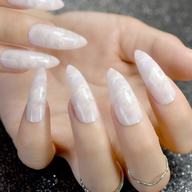 UV Plastics Nails Super long White Clouds Pointed Press On Nails ...