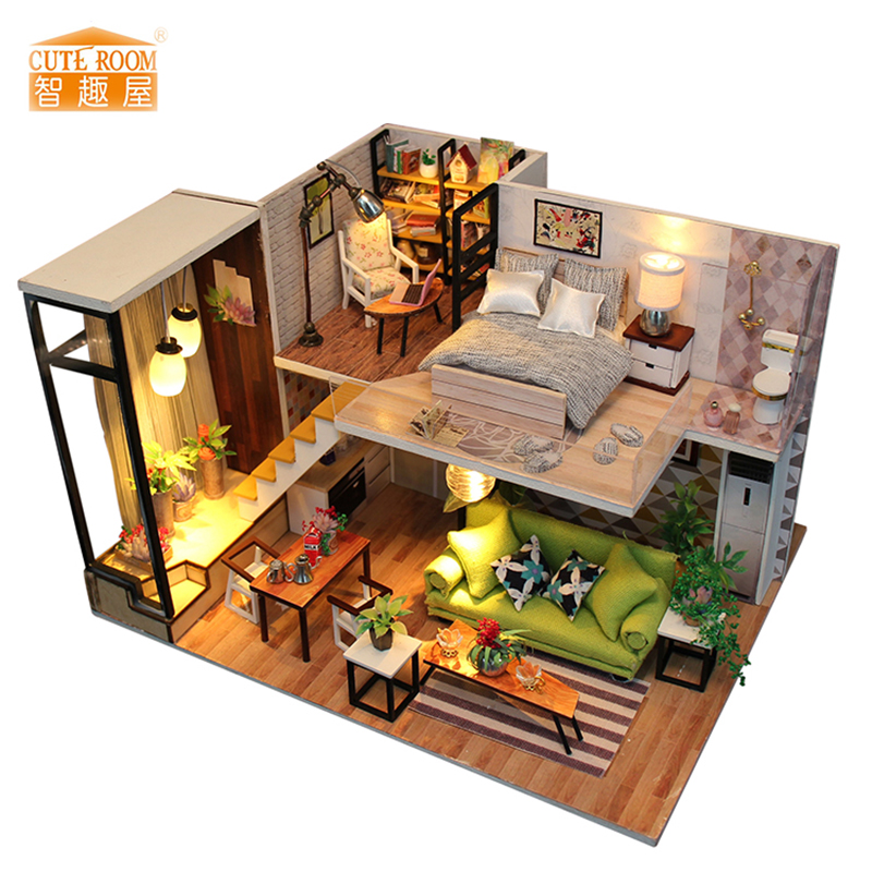 New Furniture DIY Doll House Wooden Miniature Doll Houses Furniture Kit Box Puzzle Assemble Dollhouse Toys For children gift M30New Furniture DIY Doll House Wooden Miniature Doll Houses Furniture Kit Box Puzzle Assemble Dollhouse Toys For children gift M30