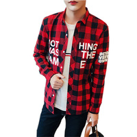 Spring And Autumn Large Size Men Shirt Long Sleeve Shirt Mens Flannel Plaid Shirts For Young