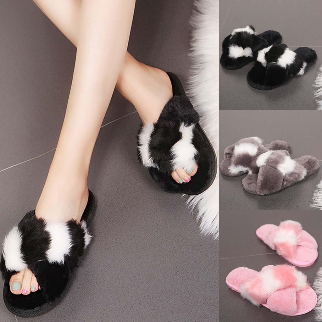 Women's Fur Slippers Casual Warm Cross Mixed Colors Plush Soft Slippers Indoors Slip On Shoes Fluffy Faux Fur Flat Flip Flop