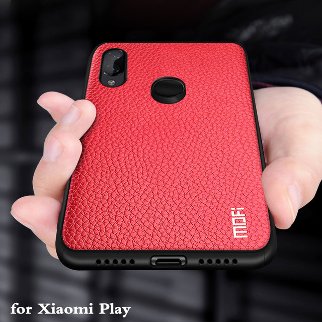 MOFi Xiaomi Mi Play PU Leather Back Cover Silicone Shockproof Case