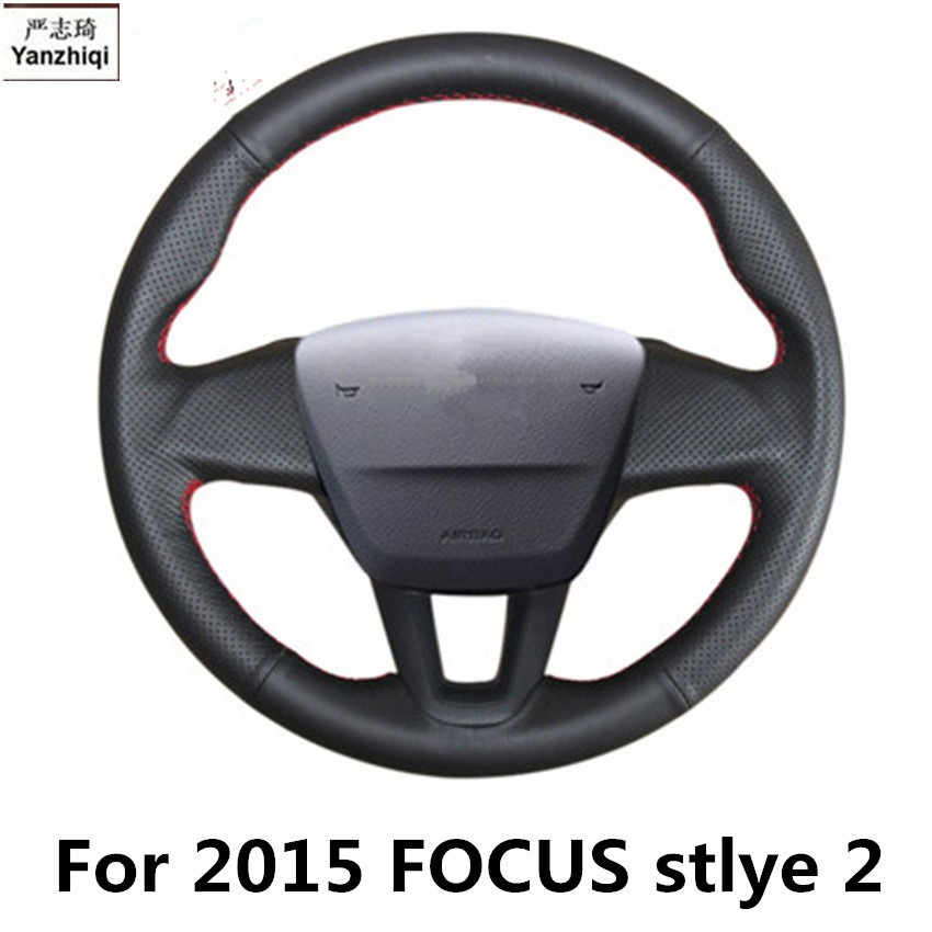Sew-on genuine leather car steering wheel cover Car accessories For FORD FOCUS MK2 MK3 2005-2011 2011-2014 2015
