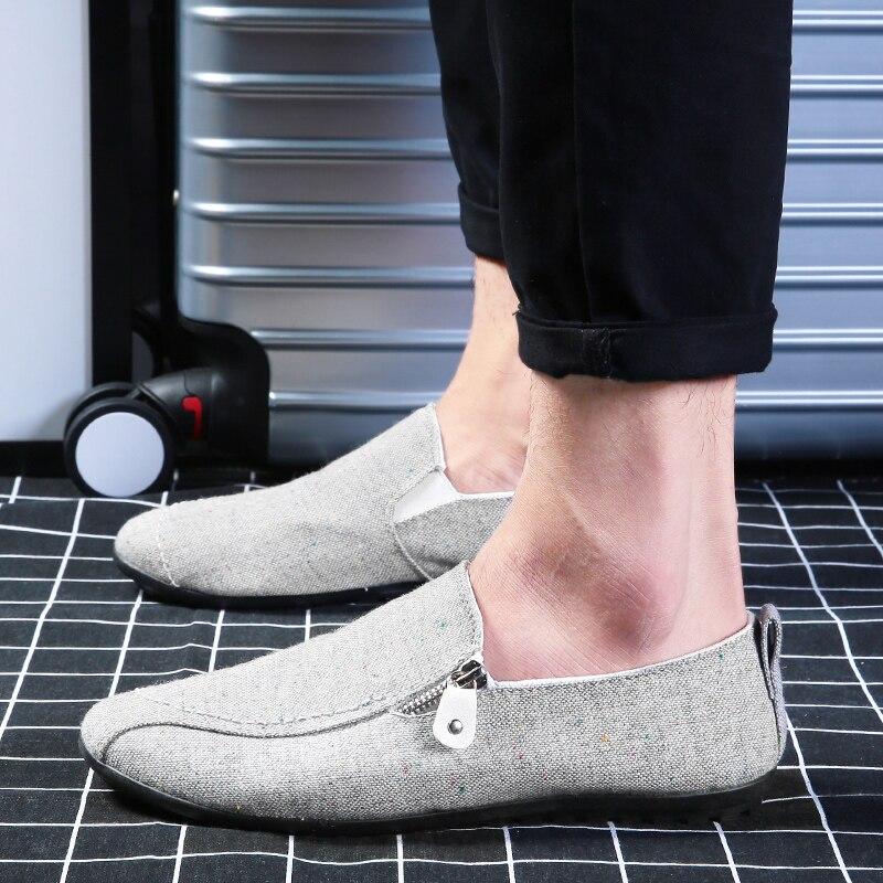 Fooraabo moda 2017 del verano del mens zapatos de lona planos ocasionales de los
