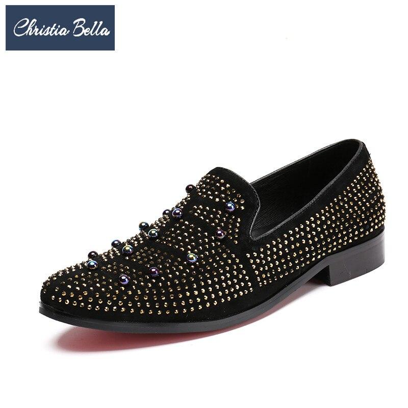 En Or Plus La Appartements Mocassins Daim Christia Clouté Partie Bella Mode Robe Strass Banquet Chaussures Hommes Britannique De Taille Noir iPXukZwTlO