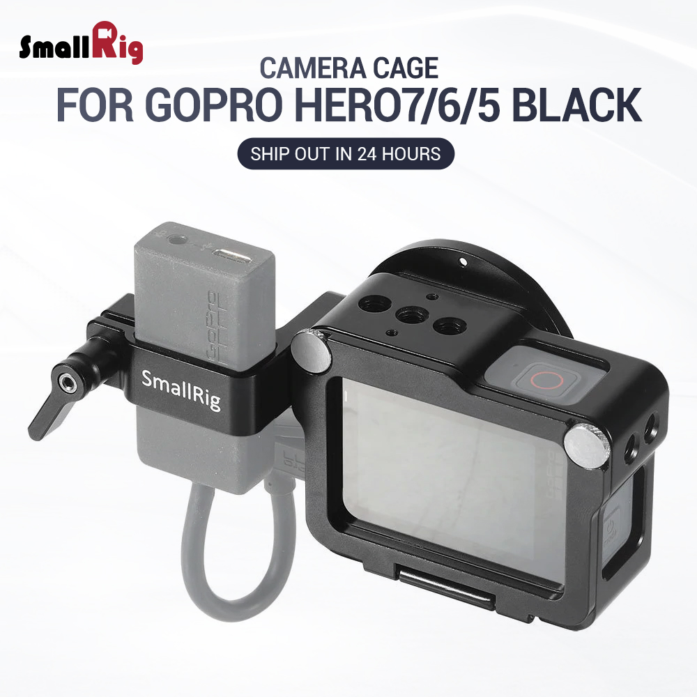 SmallRig Action Camera Vlogging Cage for GoPro HERO 7 / 6 / 5 Black For Microphone Flash Light DIY Options Aluminum Case CVG2320-in Camera Cage from Consumer Electronics