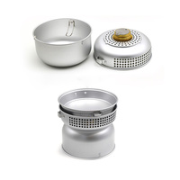 Outdoor Alcohol Stove with Pots Aluminium Utensils Camping Cooker Set (Silver)