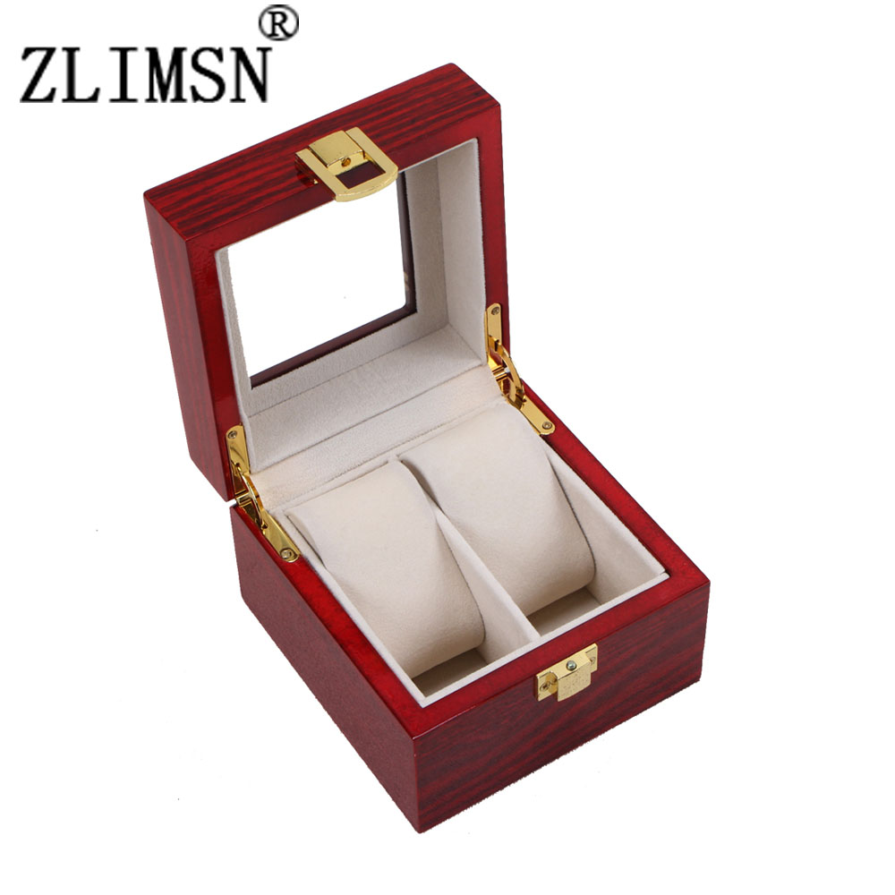 2 Grid Wood Luxus Watchbox Display Box Transparent Skylight Gift Red Box luxury Jewelry Collections Storage Display Case HZ30