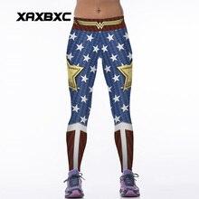 NEW 88005 Sexy Girl Women Comics The Avengers Wonder Woman Old Glory 3D Prints High Waist Women Fitness Leggings Pants