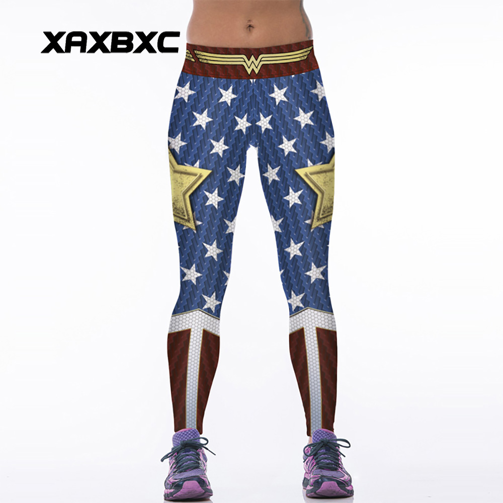 NEW 88005 Sexy Girl Women Comics The Avengers Wonder Woman Old Glory 3D Prints High Waist Women Fitness Leggings Pants image
