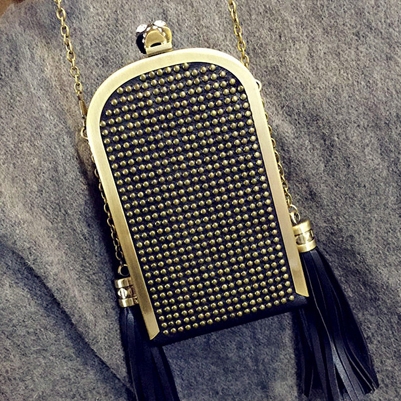 2016 hot fashion brand rivet punk skull pu leather tassel chain mini evening bag ladies handbag shoulder bag flap purse 2 colors new punk fashion metal tassel pu leather folding envelope bag clutch bag ladies shoulder bag purse crossbody messenger bag