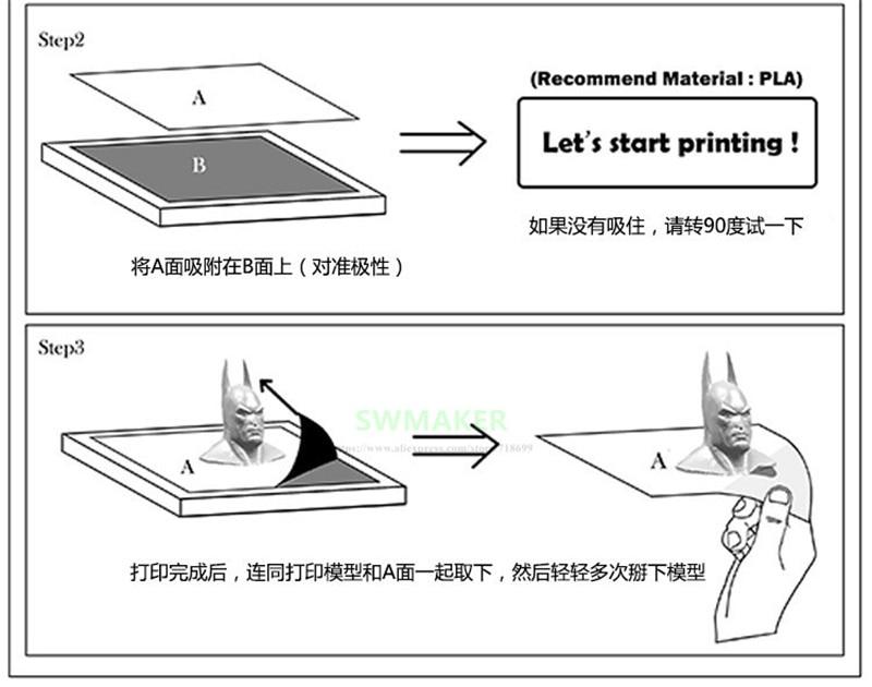 310x310mm Magnética Cama Impressão Fita Adesiva Adesivo