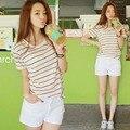 Tamanho mulheres coreano solto vestido de camisa listrada de manga curta t-shirt estudante de manga curta modelos femininos
