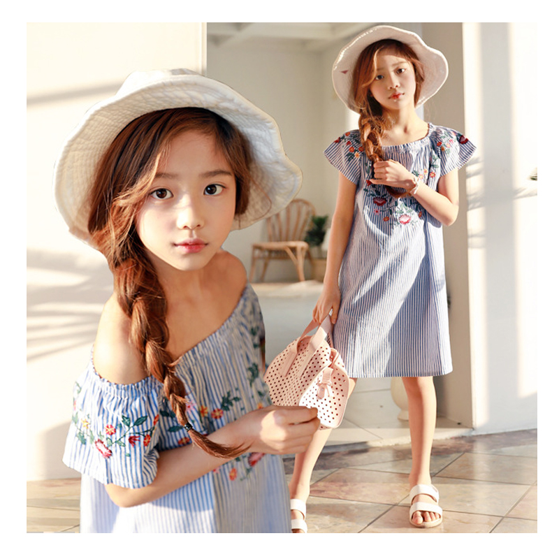 Baby Girl Off Shoulder Summer Clothes Kids Girls Dresses Princess Embroidery Stripe Cotton Dress 3 4 5 6 8 7 years Girls Dress 2017 autumn girls dresses 3 4 5 6 7 8 9 10 years long sleeve plaid dress for girl clothes cotton pattern baby children clothing