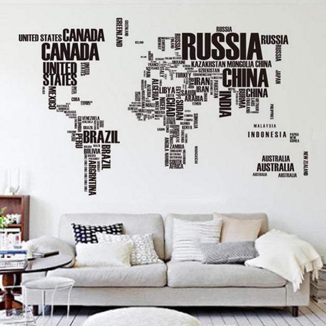 60*90cm Large World Map Letter Wall Stickers Letters Map Wall Art Bedroom  Home Use