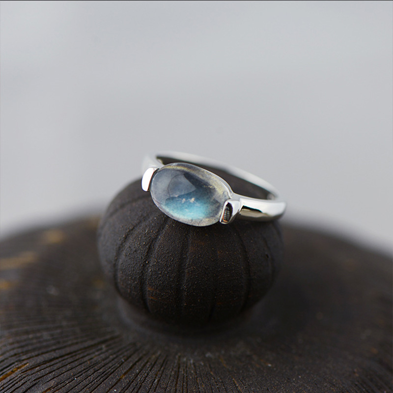 Authentic 925 Silver Sterling Ring Labradorite Designer Jewelry Luxury Wedding Rings For Women Natural Stone Bague