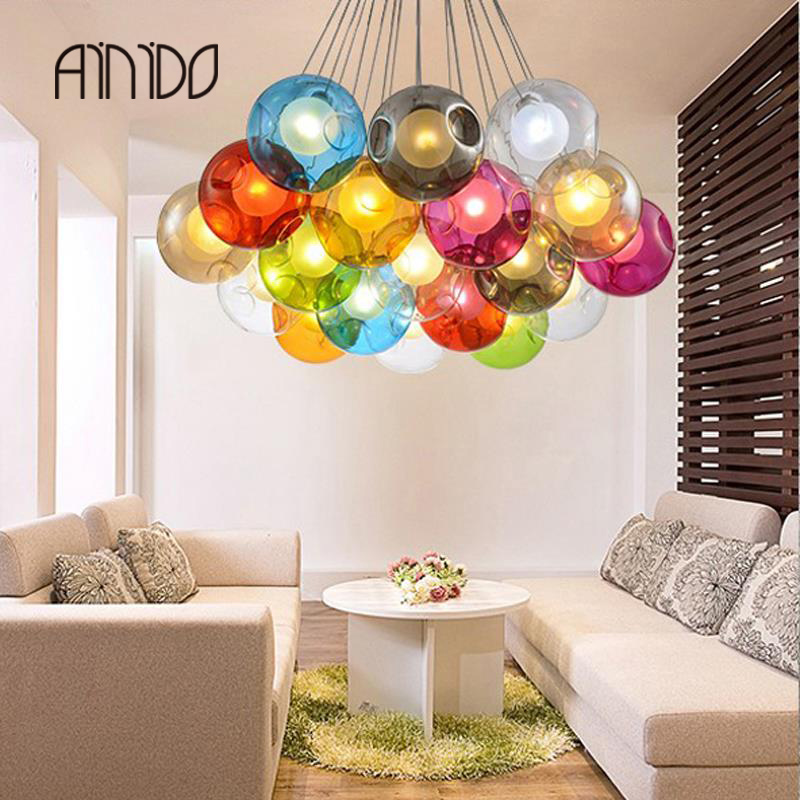 Creative design Modern LED colorful glass pendant lights lamps for dining room living room bar led G4 96-265V glass lights 2016 creative design circular frame spherical science fiction elements of led lamps pendant lamps for home dinning room holet