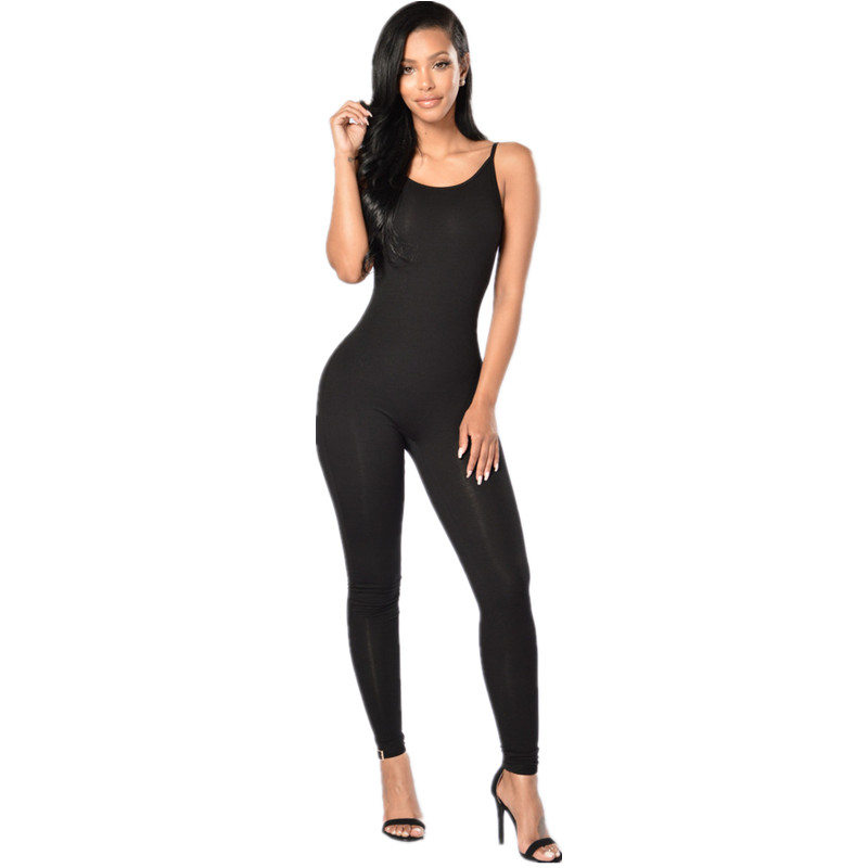 New Summer Black White Bodycon Jumpsuits Fashion Sexy Spaghetti Strap Tight Leotard Suspenders Women Slim Milk Silk Jumpsuit(China)