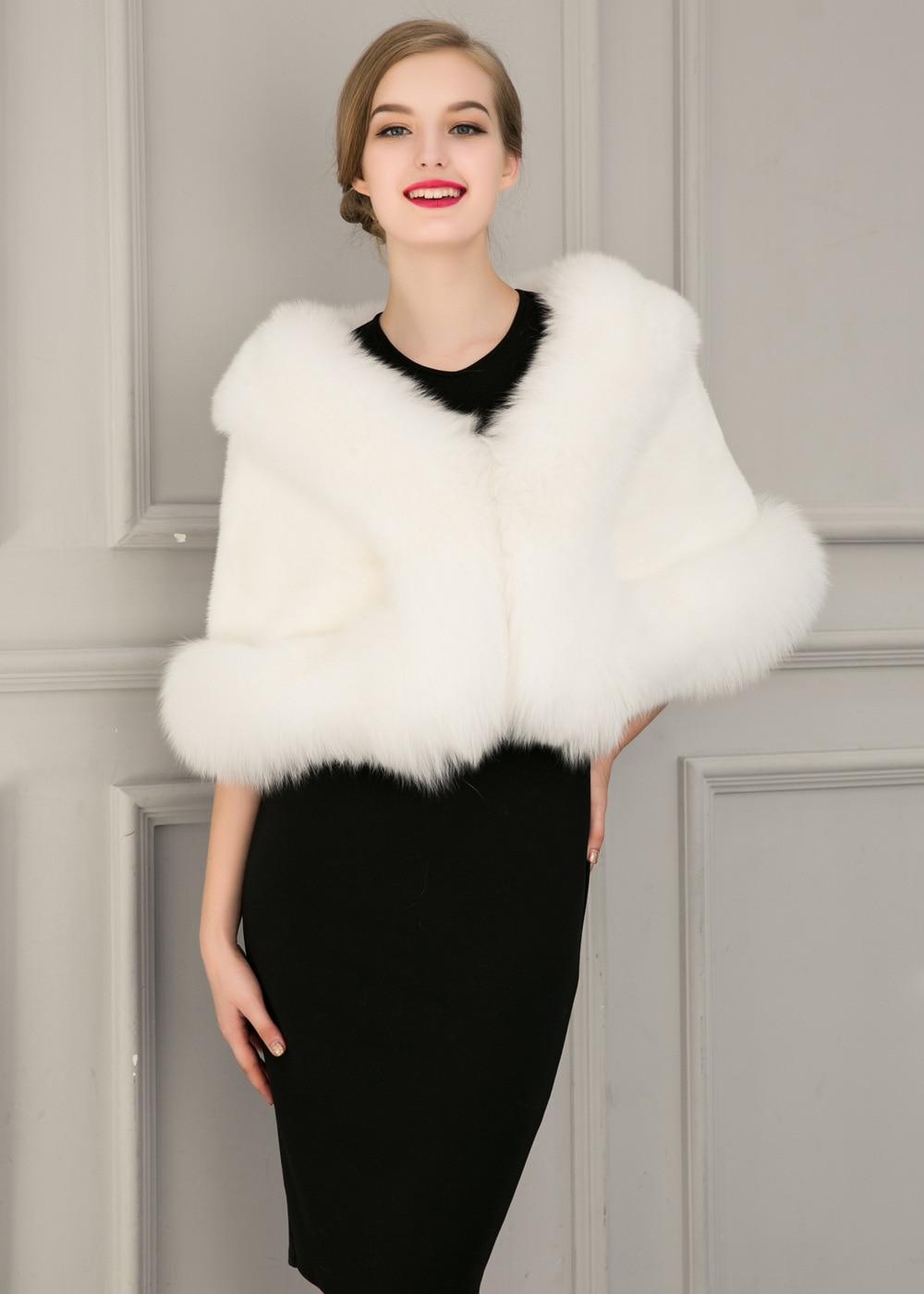 Europe and America autumn and winter new imitation fur bride dress bridesmaid fur shawl cape coat (13)
