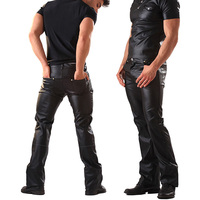 Sexy Men Faux Leather Night Club Erotic Tight Pants PVC Latex Men Shinny Motor Biker Gay Fetish Pole Dance Wetlook Long Trousers