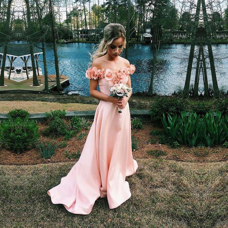 Sexy Boat Neck Cap Sleeve Bridesmaid Dresses 2018 Pink flowers Long Bridesmaids Gowns Wedding Guest Dress vestido madrinha