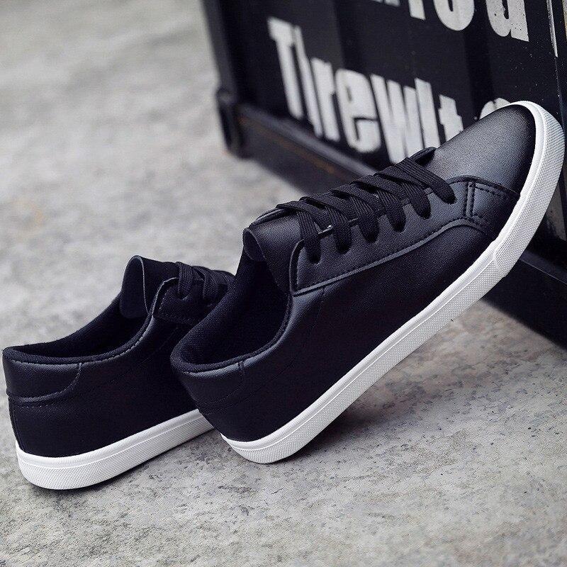 Solide Couleur Casual up Feminino Pu Dentelle 2018 black Femmes Tenis Cuir White Femme Chaussures Noir Printemps Nouveau Sneakers Blanc xPRwqwp17