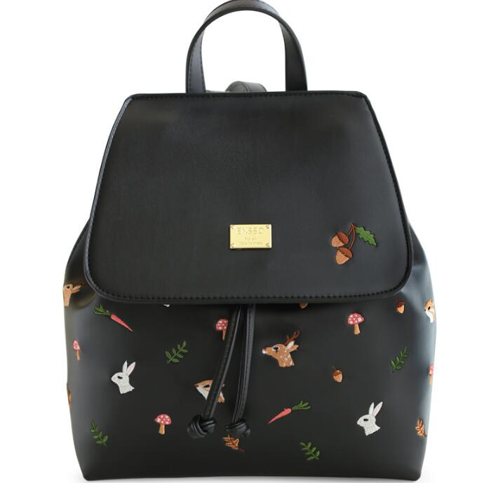 Cartoon Vintage Animal Print Deer Girl Black PU Leather Squirrel Rabbit Embroidery font b Women s