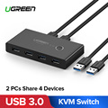 Ugreen KVM Switch USB 3.0 2.0 Switcher 2 Port PCs Sharing 4 Devices for Keyboard Mouse Printer Monitor Selector USB Switch KVM