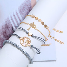 5 Pcs/ Set New Fashion Women Heart Letter Love Leafl Beads Chain Multilayer Bangle and Gold Bracelet Charm Girl Jewelry Gift