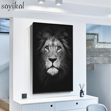 Modern Canvas Painting Animal Posters And Prints Lion Deer Decorative Pictures For Living Room Fashion Wall Art Black White