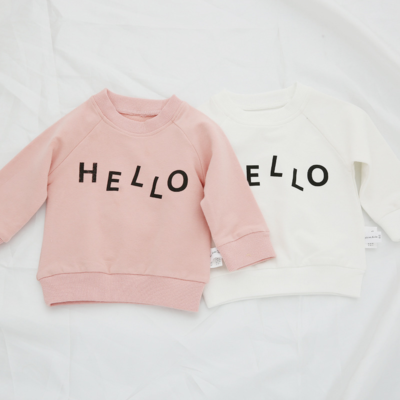 Autumn Children's Hoodies Cotton T Shirt Boys Letter Hello Printed 6-24M Infant Children Newborn Boys and Girls Sweatshirt цены онлайн