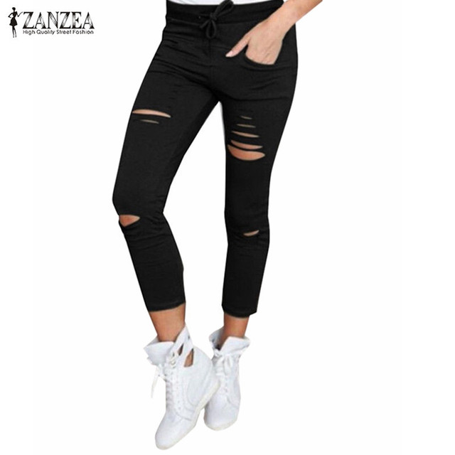 c8571c6eca0 ZANZEA 2016 Women Skinny Pencil Pants Ladies Autumn Casual Plain Solid Slim  Stretchy Capris Pockets Hole